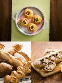 【製パンコース】彩り焼きカレー、デモ(フランスパン、ぶどうとくるみのカンパーニュ)