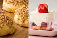 【洋菓子】 ミルキーベリーパフェ 【製パン】 メープルメロンパン