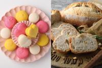 【洋菓子】チーズクリームとオレンジジャムのマカロン【製パン】クルミのカンパーニュ